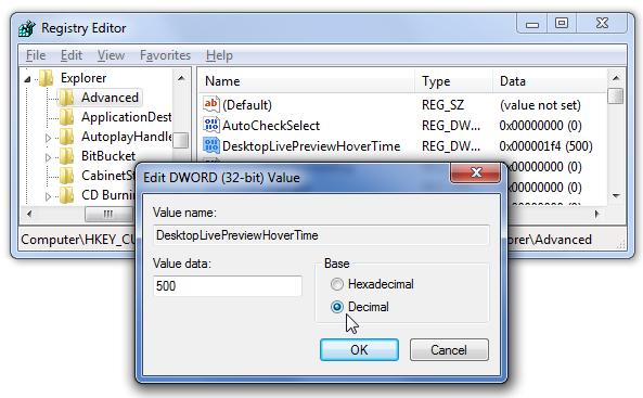 Как управлять эффектом Aero Pick в Windows 7