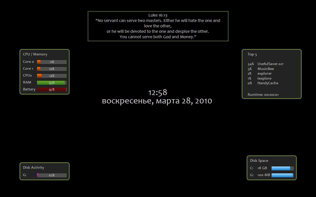 UsefulSaver - красивый и информативный скринсейвер