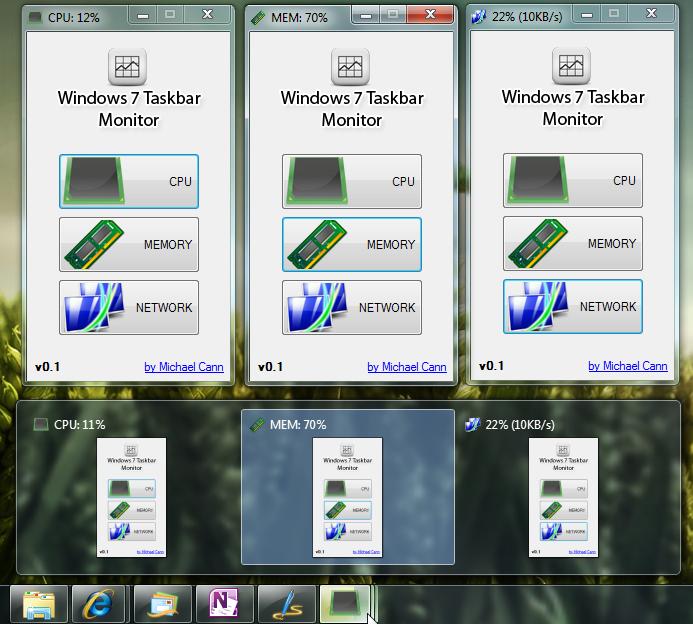 Windows 7 Taskbar Monitor - красивая программа для мониторинга ресурсов