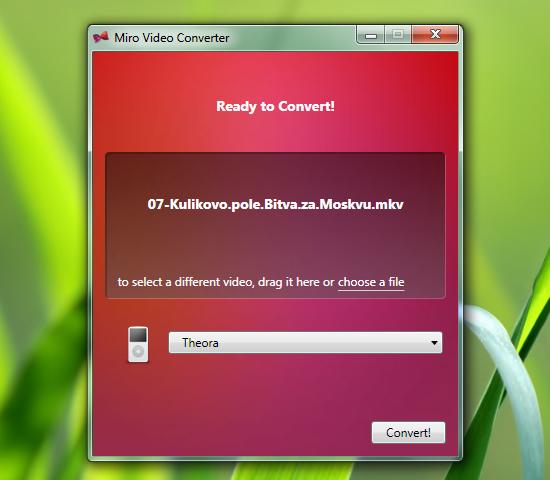 Miro Video Converter - очень простой конвертер видео для мобильных устройств