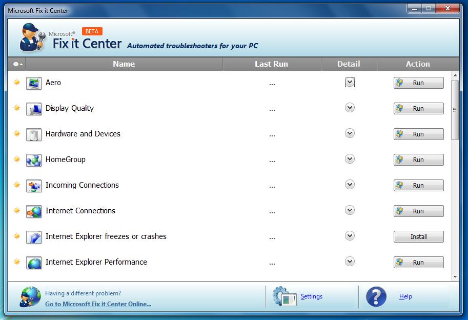 Microsoft Fix It Center - устранение всех неисправностей реестра в одном месте