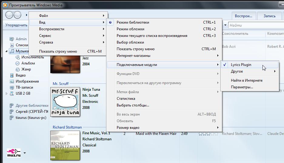 Lyrics Plugin - плагин для отображения текста песен в Windows Media Player (4)