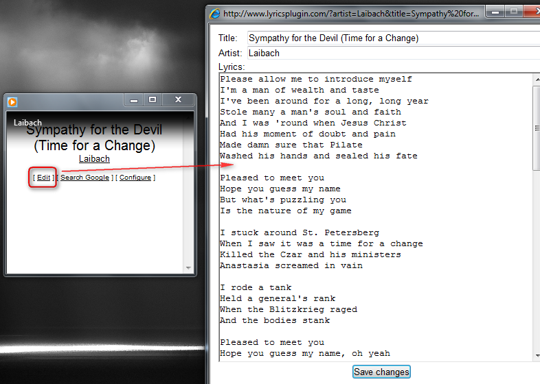 Lyrics Plugin - плагин для отображения текста песен в Windows Media Player (3)