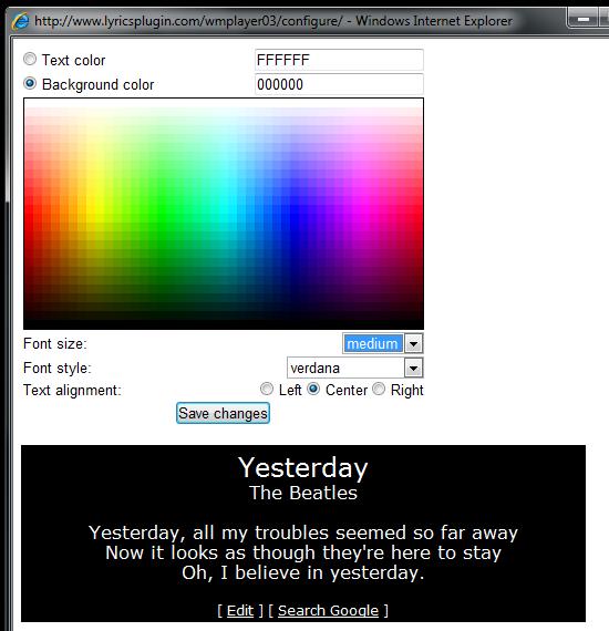 Lyrics Plugin - плагин для отображения текста песен в Windows Media Player (2)
