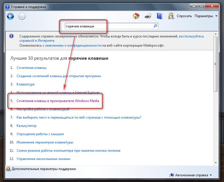 Управление Windows Media Player с помощью горячих клавиш (4)