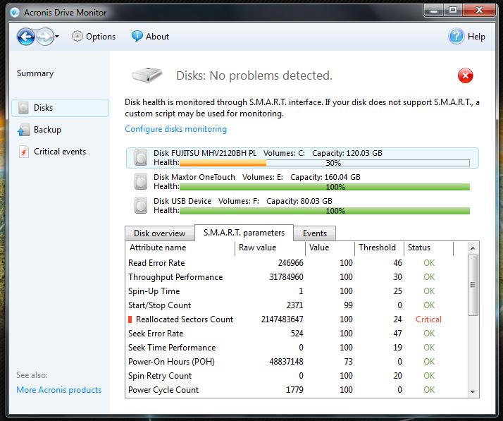 Acronis Drive Monitor - простая утилита, показывающая состояние жесткого диска