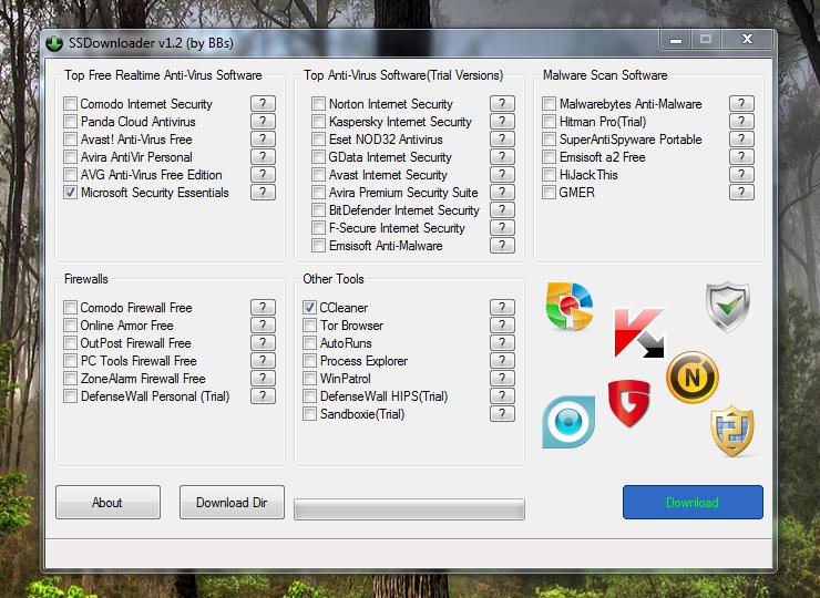 SSDownloader скачивает бесплатные программы, обеспечивающие безопасность компьютера
