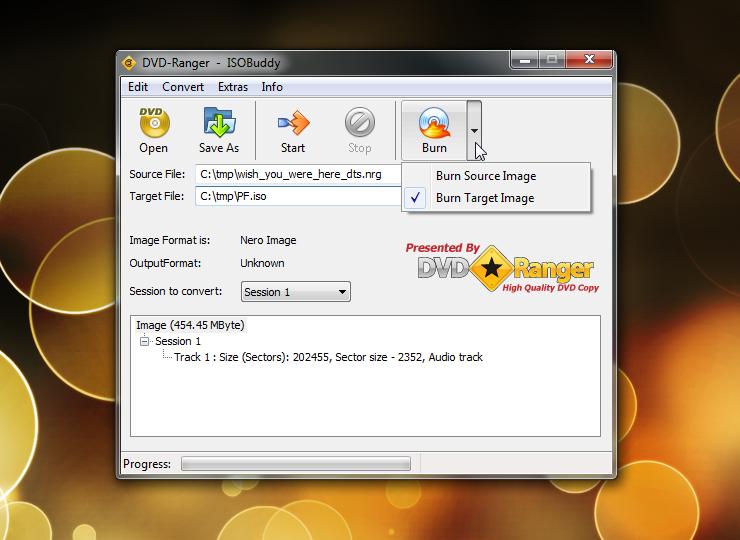 ISOBuddy - программа для конвертации и записи образов дисков
