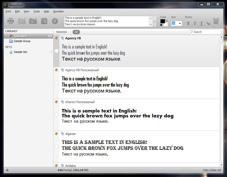 NexusFont - программа для управления шрифтами, установленными в системе