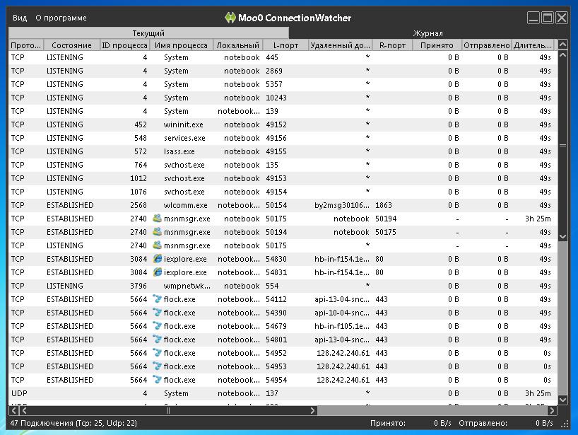 Moo0 ConnectionWatcher - утилита для отслеживания активности ваших программ в сети и интернете