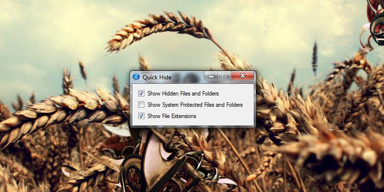 Quick Hide - прячем/показываем расширения файлов и системные файлы одним кликом