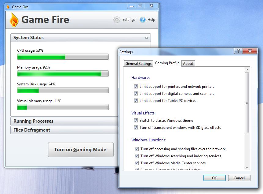 Game Fire - программа для оптимизации системы под игры