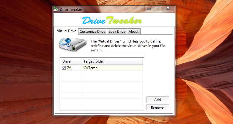 Drive Tweaker - программа для создания виртуальных дисков из любой папки