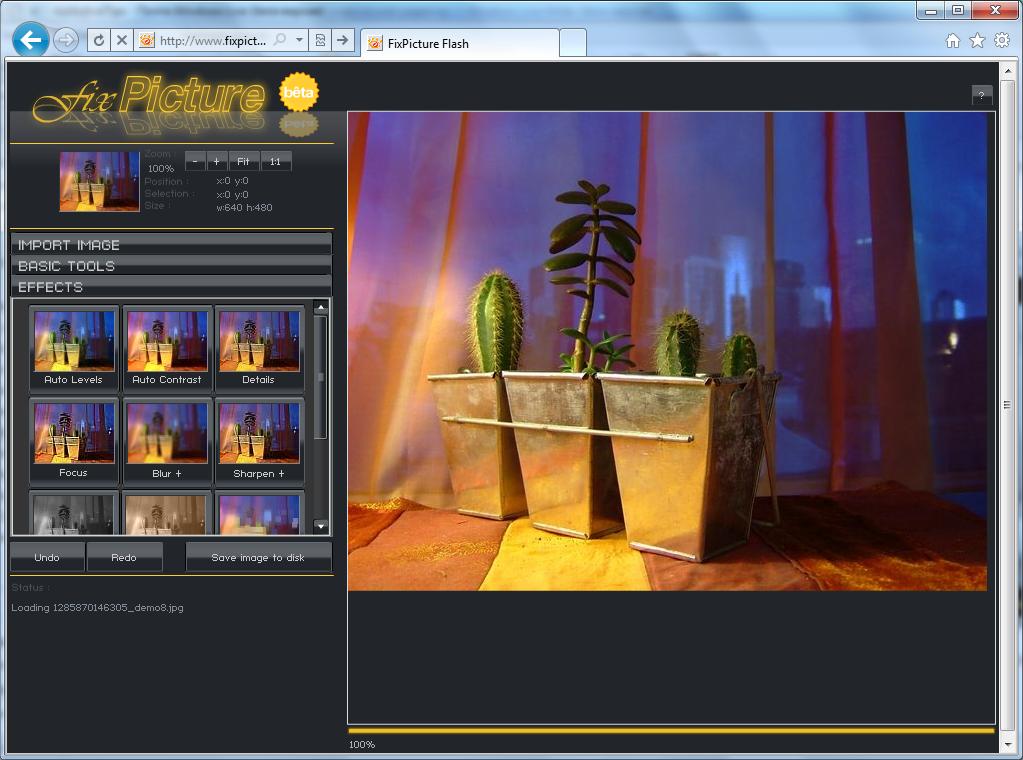 fixPicture - простой онлайновый графический редактор