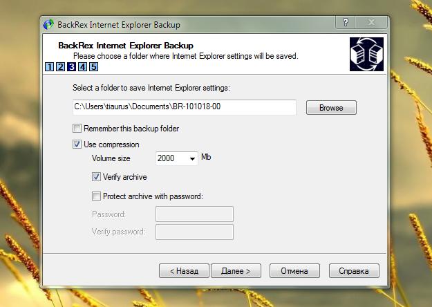 BackRex Internet Explorer Backup - удобная утилита для переноса данных из Internet Explorer