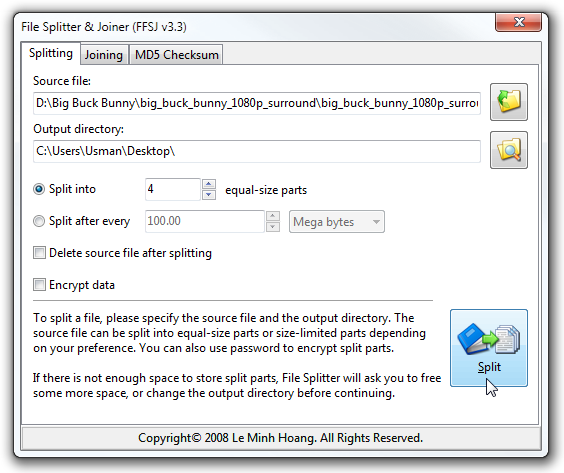 FFSJ — утилита для разрезания и склеивания файлов