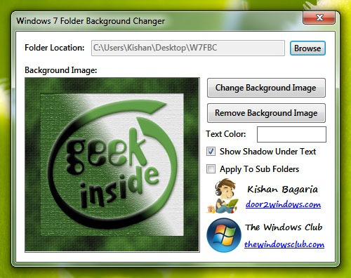 Windows 7 Folder Background Changer позволяет задавать фон папки
