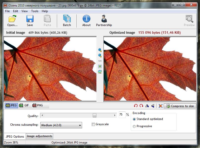RIOT - портабельная программа для пакетной оптимизации изображений