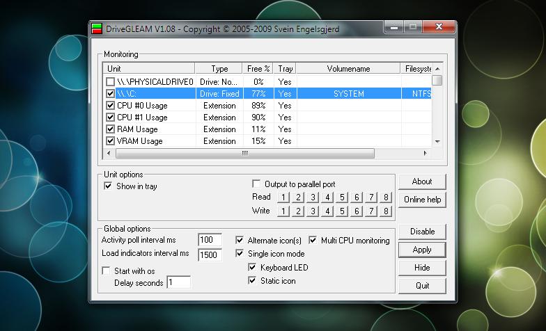 DriveGLEAM — портабельная программа для мониторинга системных ресурсов