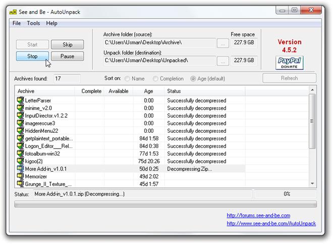 AutoUnpack - автоматический распаковщих архивов