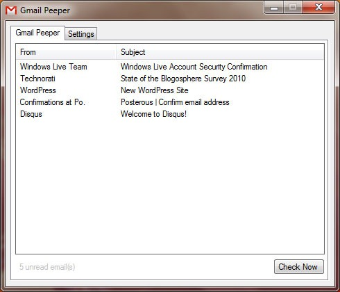 GmailPeeper — утилита, сигнализирующая о новой почте Gmail