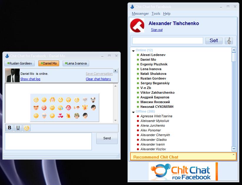 Chit Chat - мессенджер для общения в чате Facebook