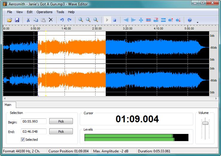 Wave Editor - бесплатный звуковой редактор