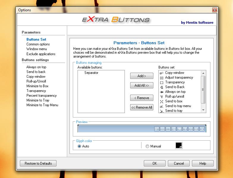 eXtraButtons - набор дополнительных кнопок для управления окном