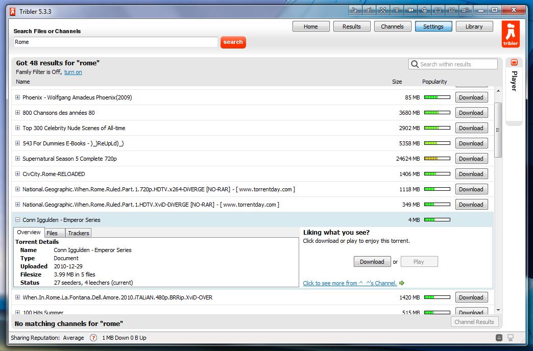 Tribler - простой torrent-клиент