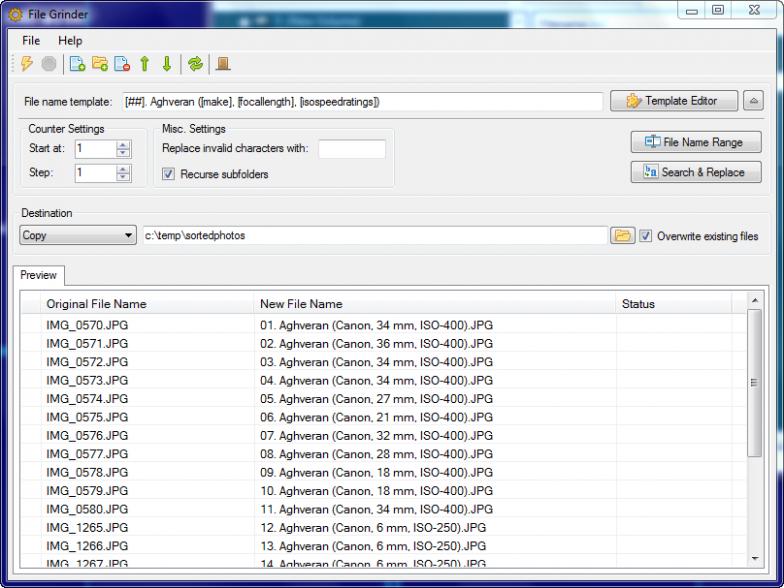 File Grinder - портабельная программа для массового переименования файлов