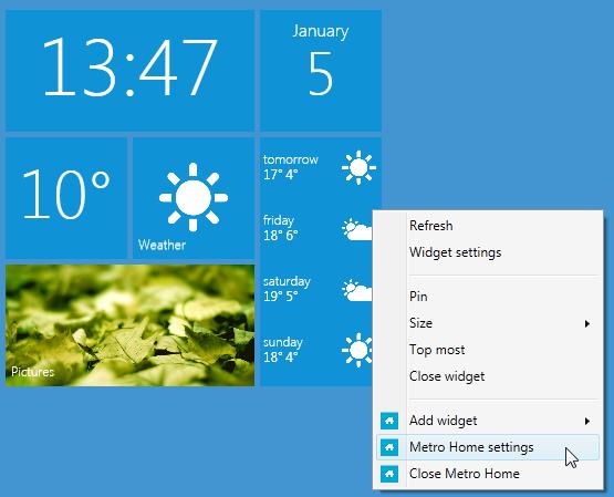 Metro Home - Windows Phone 7 Metro UI гаджет для рабочего стола