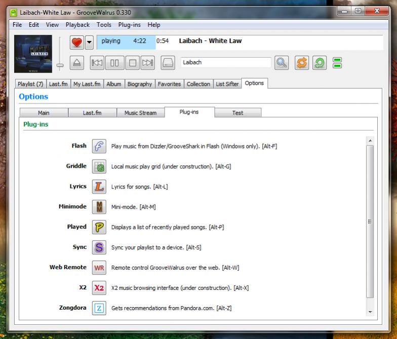 GrooveWalrus - музыкальный плеер для Last.fm и Grooveshark