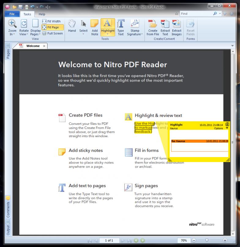 Nitro PDF Reader - бесплатный продвинутый ридер файлов PDF