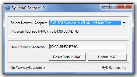Ryll MAC Editor - универсальная утилита для быстрой смены MAC-адреса сетевой карты