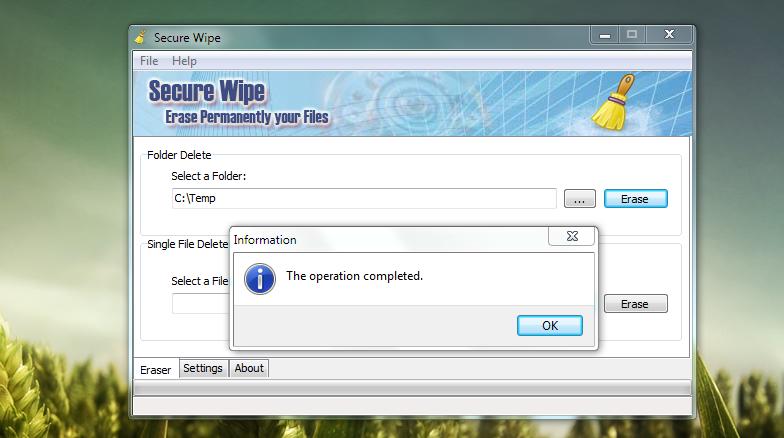 Secure Wipe - удобная портабельная программа для безвозвратного удаления файлов