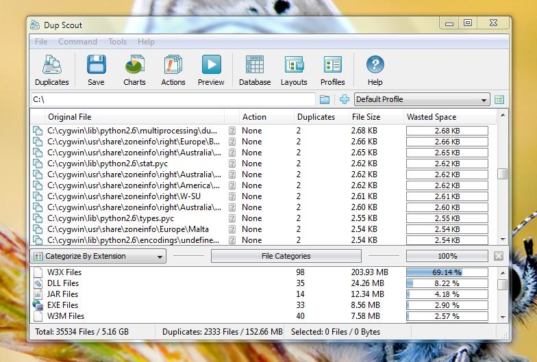 Dup Scout - программа для обнаружения дубликатов файлов
