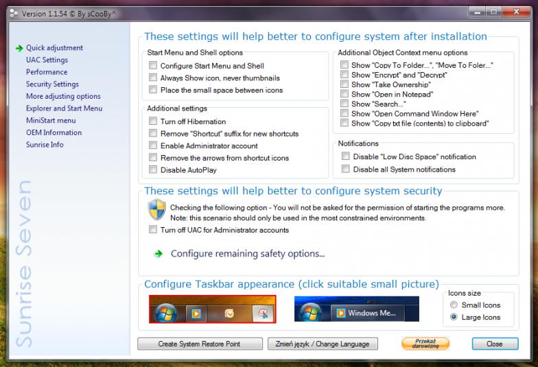 Sunrise Seven - универсальный твикер для Windows 7