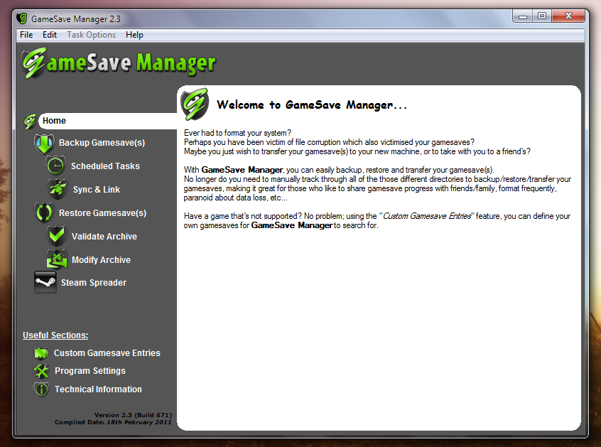 GameSave Manager - программа, сохраняющая настройки игр для использования в будущем