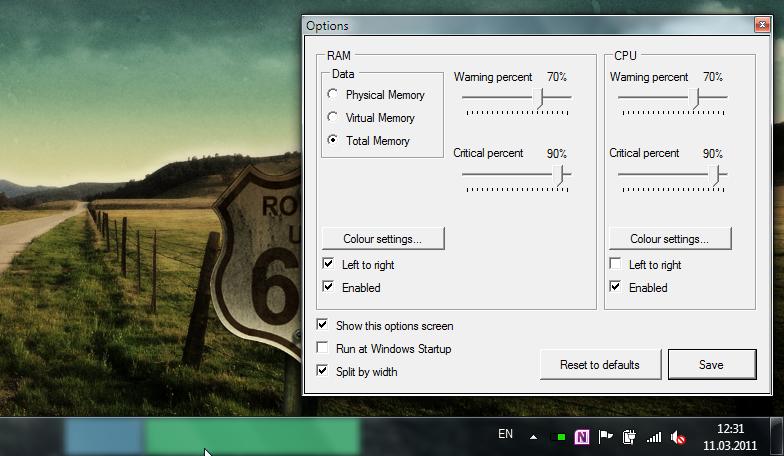 RAM CPU Taskbar for Windows 7 - портабельная утилита, показывающая использование процессора и памяти
