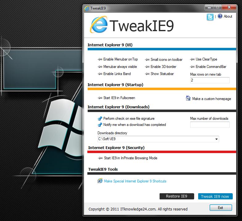TweakIE9 - небольшой портабельный твикер для Internet Explorer 9