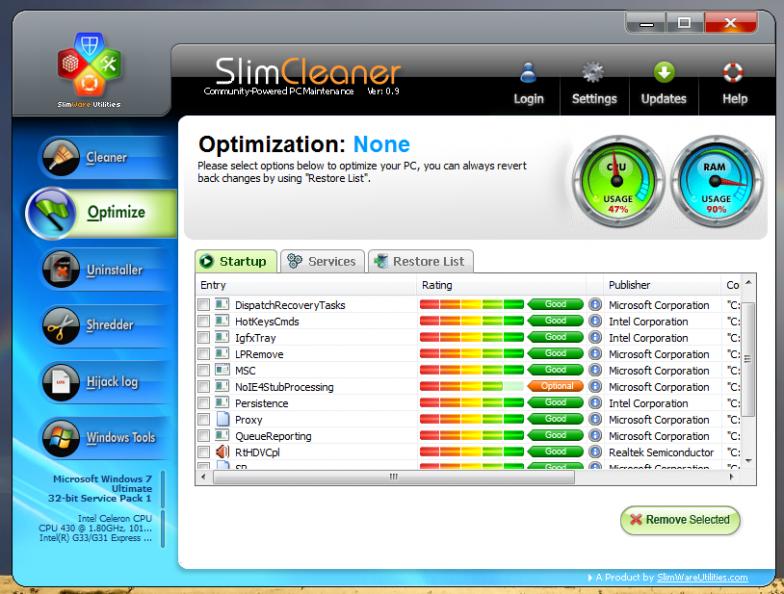 SlimCleaner - портабельная программа для очистки системы от мусора и оптимизации
