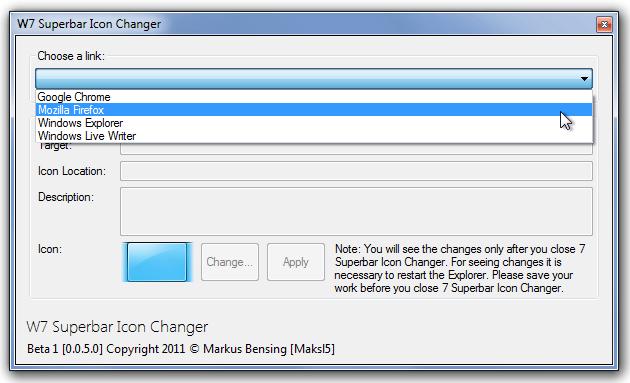 W7 Superbar Icon Changer - портабельная утилита, изменяющая иконку программы в панели задач