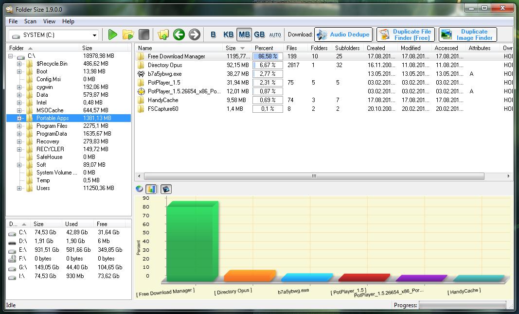 Folder Size - удобная программа для вычисления размеров папок