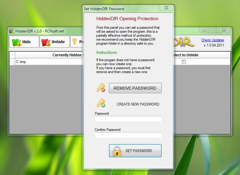 HiddenDIR - портабельная программа для скрытия папок