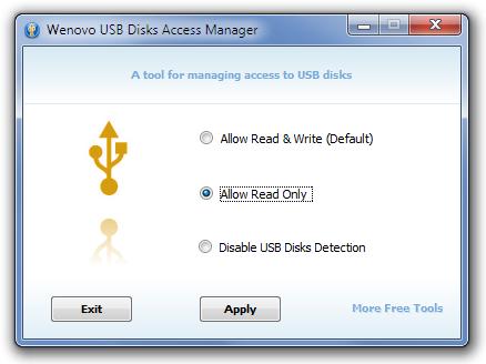 Wenovo USB Disks Access Manager - программа для перевода USB флешек в режим только чтения