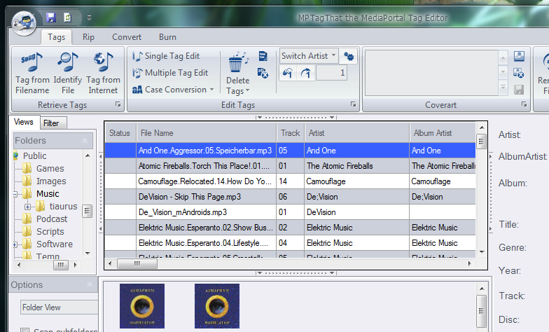 MPTagThat - программа для управления тегами в фонотеке