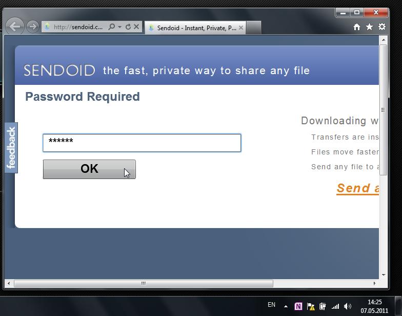 Sendoid - сервис для приватного обмена файлами