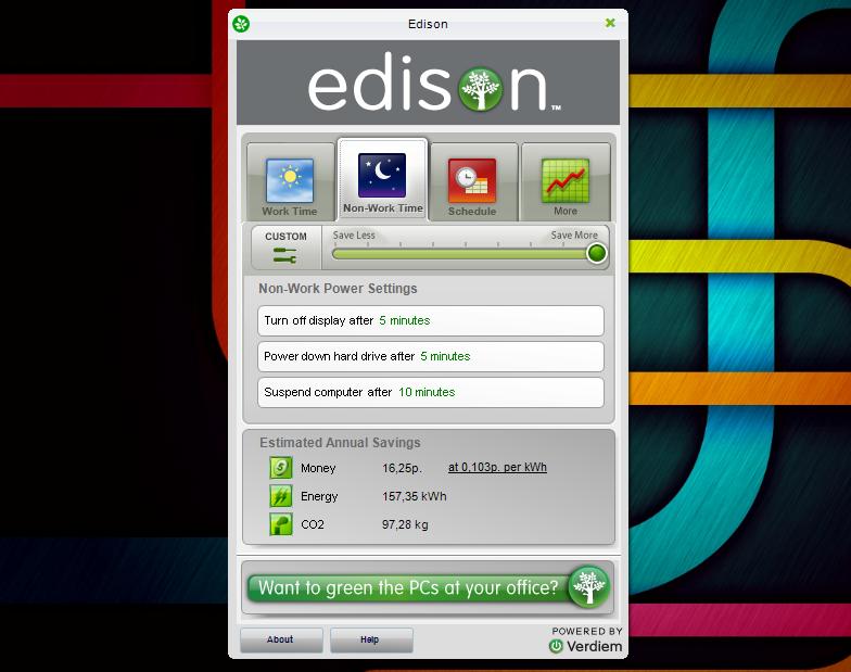 Edison - экологическая программа, сохраняющая энергию и кислород