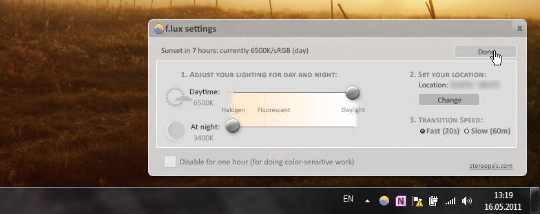 F.lux - утилита для автоматического изменения яркости экрана