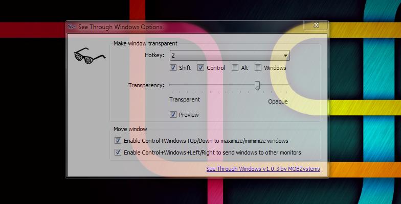 See Through Windows - утилита, добавляющая прозрачность открытым окнам